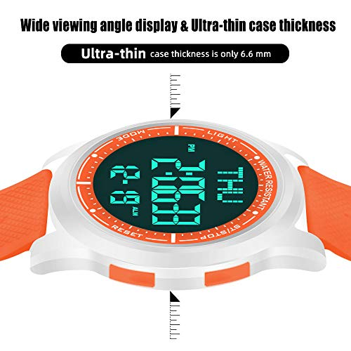 WIFORT Mens Women Digital Sports Watch Ultra-Thin and Wide Angle Vision Design, 5ATM Swimming Waterproof, Countdown Dual… 6