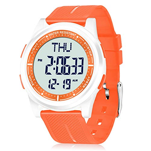 WIFORT Mens Women Digital Sports Watch Ultra-Thin and Wide Angle Vision Design, 5ATM Swimming Waterproof, Countdown Dual… 1
