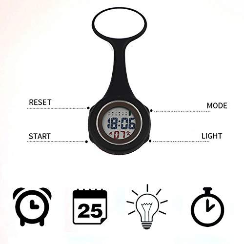 WONOLO Pin On Multi-Function Digital Silicone Fob Nurse Watch Night Lights Stopwatch for Women Men 3