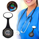WONOLO Pin On Multi-Function Digital Silicone Fob Nurse Watch Night Lights Stopwatch for Women Men 24