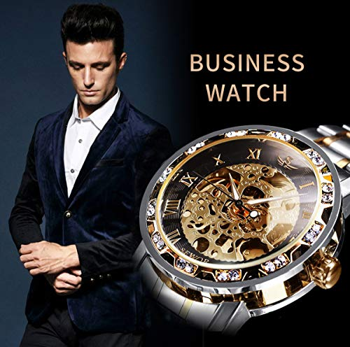 Watches, Men's Watches Mechanical Hand-Winding Skeleton Classic Fashion Stainless Steel Steampunk Dress Watch 3