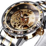 Watches, Men's Watches Mechanical Hand-Winding Skeleton Classic Fashion Stainless Steel Steampunk Dress Watch 17
