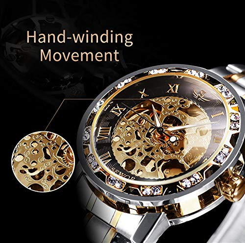 Watches, Men's Watches Mechanical Hand-Winding Skeleton Classic Fashion Stainless Steel Steampunk Dress Watch 5