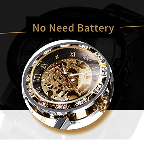 Watches, Men's Watches Mechanical Hand-Winding Skeleton Classic Fashion Stainless Steel Steampunk Dress Watch 6