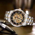 Watches, Men's Watches Mechanical Hand-Winding Skeleton Classic Fashion Stainless Steel Steampunk Dress Watch 22