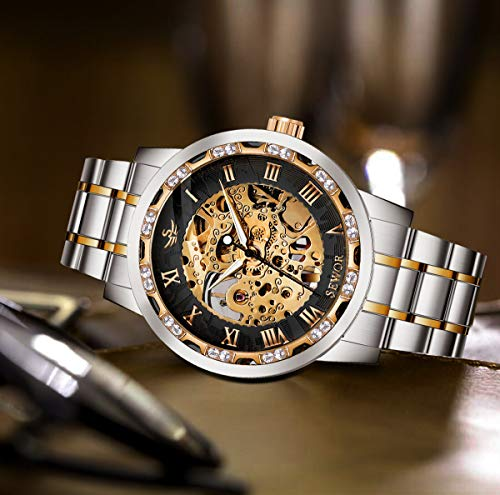 Watches, Men's Watches Mechanical Hand-Winding Skeleton Classic Fashion Stainless Steel Steampunk Dress Watch 7