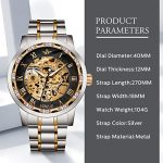 Watches, Men's Watches Mechanical Hand-Winding Skeleton Classic Fashion Stainless Steel Steampunk Dress Watch 23