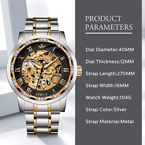 Watches, Men's Watches Mechanical Hand-Winding Skeleton Classic Fashion Stainless Steel Steampunk Dress Watch 8