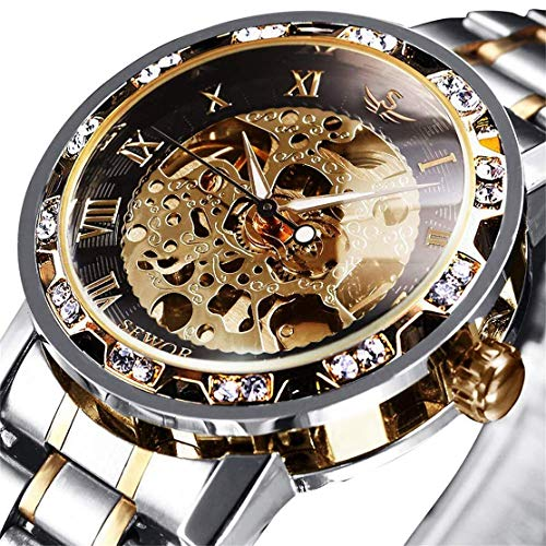 Watches, Men's Watches Mechanical Hand-Winding Skeleton Classic Fashion Stainless Steel Steampunk Dress Watch 1