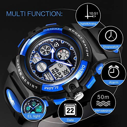 Watches,Kids Watches,Boys Teenagers Digital Outdoors Sport Watch Multifunction Waterproof Electronic Digital Watch with… 5