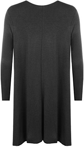 WearAll Plus Size Womens Plain Long Sleeve Stretch Ladies Swing Dress Top - 16-26 3