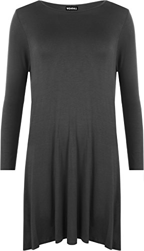 WearAll Plus Size Womens Plain Long Sleeve Stretch Ladies Swing Dress Top - 16-26 1