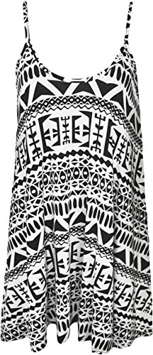 WearAll Plus Size Womens Printed Strappy Sleeveless Ladies Mini Dress Vest Top - 16-26 1