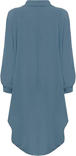 WearAll® Women's Plus Batwing Shirt Dress Long Sleeve Dip Hem Hi Lo Button Collar Ladies 16-26 3