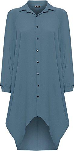 WearAll® Women's Plus Batwing Shirt Dress Long Sleeve Dip Hem Hi Lo Button Collar Ladies 16-26 1