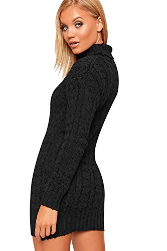 WearAll Women's Polo High Neck Long Sleeve Cable Knitted Jumper Dress Ladies Bodycon Mini 8-22 3