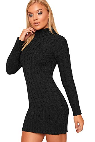 WearAll Women's Polo High Neck Long Sleeve Cable Knitted Jumper Dress Ladies Bodycon Mini 8-22 4