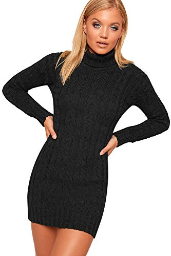 WearAll Women's Polo High Neck Long Sleeve Cable Knitted Jumper Dress Ladies Bodycon Mini 8-22 1