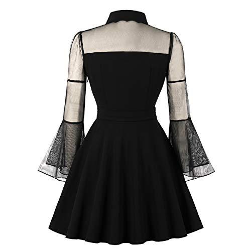 Wellwits Women's Keyhole Mesh Bell Long Sleeve Knee Swing Cocktail Dress 3