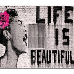 Wieco Art Black Framed Canvas Prints of Banksy Life is Beautiful Modern Grey Love Pictures Paintings on Canvas Wall Art… 27