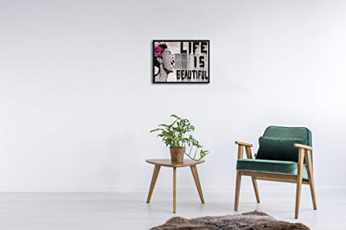 Wieco Art Black Framed Canvas Prints of Banksy Life is Beautiful Modern Grey Love Pictures Paintings on Canvas Wall Art… 3