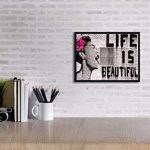 Wieco Art Black Framed Canvas Prints of Banksy Life is Beautiful Modern Grey Love Pictures Paintings on Canvas Wall Art… 21