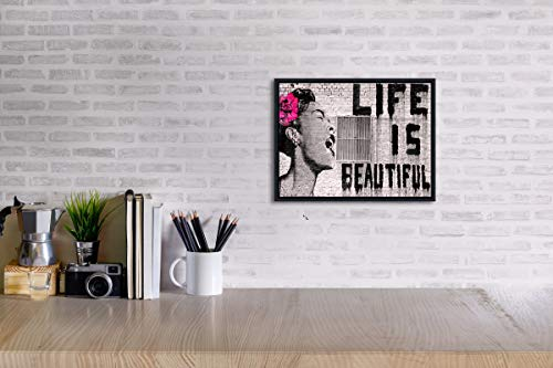 Wieco Art Black Framed Canvas Prints of Banksy Life is Beautiful Modern Grey Love Pictures Paintings on Canvas Wall Art… 4