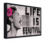 Wieco Art Black Framed Canvas Prints of Banksy Life is Beautiful Modern Grey Love Pictures Paintings on Canvas Wall Art… 19