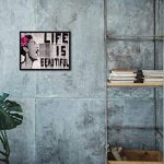 Wieco Art Black Framed Canvas Prints of Banksy Life is Beautiful Modern Grey Love Pictures Paintings on Canvas Wall Art… 22