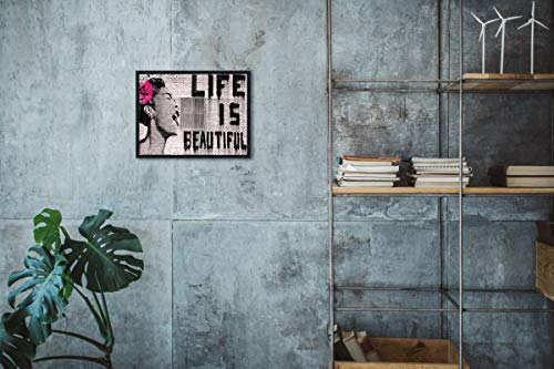 Wieco Art Black Framed Canvas Prints of Banksy Life is Beautiful Modern Grey Love Pictures Paintings on Canvas Wall Art… 5