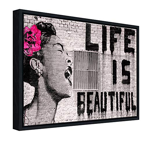 Wieco Art Black Framed Canvas Prints of Banksy Life is Beautiful Modern Grey Love Pictures Paintings on Canvas Wall Art… 1