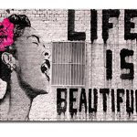 Wieco Art Black Framed Canvas Prints of Banksy Life is Beautiful Modern Grey Love Pictures Paintings on Canvas Wall Art… 28