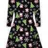Women Daughter Novelty Santa Rudolph Swing Flare Skater Plus Size Dress 3