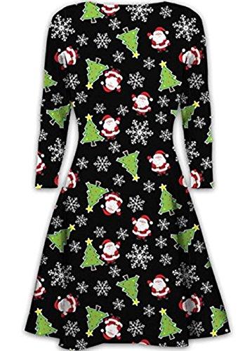 Women Daughter Novelty Santa Rudolph Swing Flare Skater Plus Size Dress 1