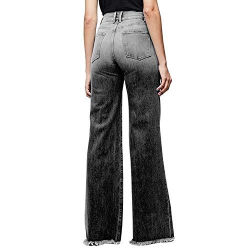 Women Wide Leg High Waisted Flared Jeans Retro Bootcut Raw Hem Denim Pants 3