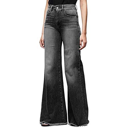 Women Wide Leg High Waisted Flared Jeans Retro Bootcut Raw Hem Denim Pants 1
