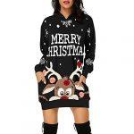 Women's Christmas Hoodie Dress, Ladises Bag Hip Pocket Xmas Print Hooded Sweatshirt Sweater Tops Shirts T22G1 14