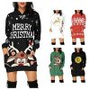 Women's Christmas Hoodie Dress, Ladises Bag Hip Pocket Xmas Print Hooded Sweatshirt Sweater Tops Shirts T22G1 7