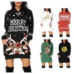 Women's Christmas Hoodie Dress, Ladises Bag Hip Pocket Xmas Print Hooded Sweatshirt Sweater Tops Shirts T22G1 13