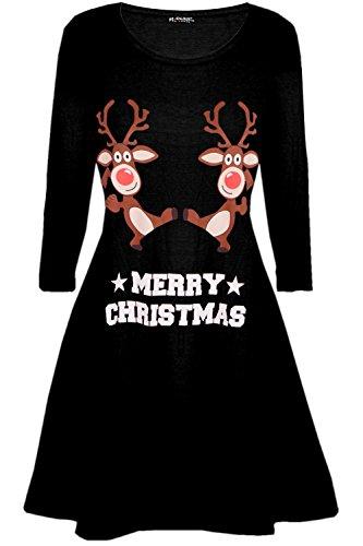 Womens Christmas Xmas Long Sleeve Snowman Dancing Reindeer Santa Face Swing Mini Dress 1