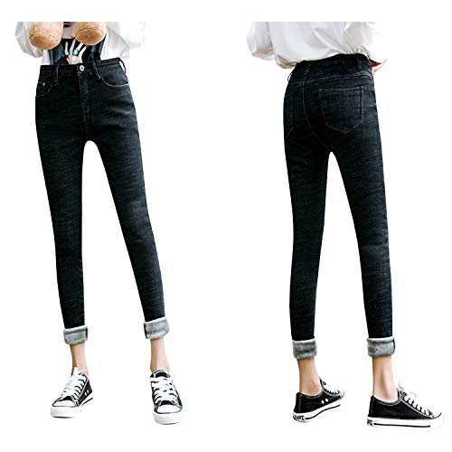 Womens Winter Fleece Lined Stretchy Jeggings High Waisted Skinny Jeans Yoga Denim Pants 8