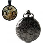YISUYA Vintage Bronze Doctor Who Retro Dr Who Pocket Watch with Chain Mens Boys Necklace Pendant Gift Box 22