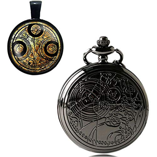 YISUYA Vintage Bronze Doctor Who Retro Dr Who Pocket Watch with Chain Mens Boys Necklace Pendant Gift Box 7