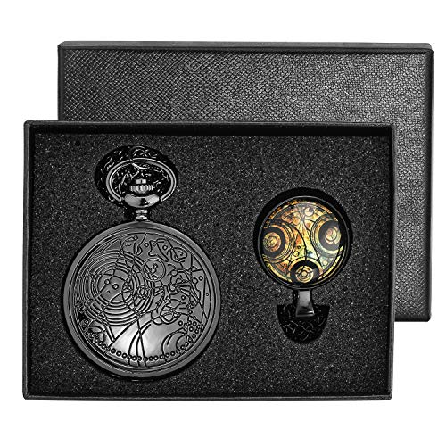 YISUYA Vintage Bronze Doctor Who Retro Dr Who Pocket Watch with Chain Mens Boys Necklace Pendant Gift Box 1