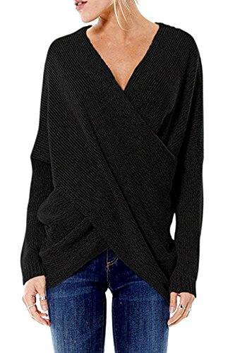 YOINS Women Cross Wrap Front Knit V Neck Irregular Hem Jumper Sweater Long Sleeves Tops 2
