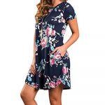 YOINS Women Mini Dresses Short Sleeve Casual Loose Tunic Round Neck Long Tshirt Mini Dress 16
