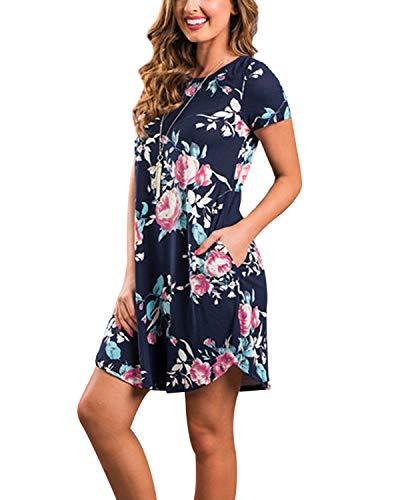 YOINS Women Mini Dresses Short Sleeve Casual Loose Tunic Round Neck Long Tshirt Mini Dress 3