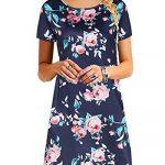 YOINS Women Mini Dresses Short Sleeve Casual Loose Tunic Round Neck Long Tshirt Mini Dress 15