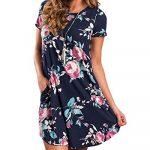 YOINS Women Mini Dresses Short Sleeve Casual Loose Tunic Round Neck Long Tshirt Mini Dress 18