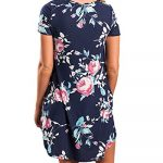 YOINS Women Mini Dresses Short Sleeve Casual Loose Tunic Round Neck Long Tshirt Mini Dress 19